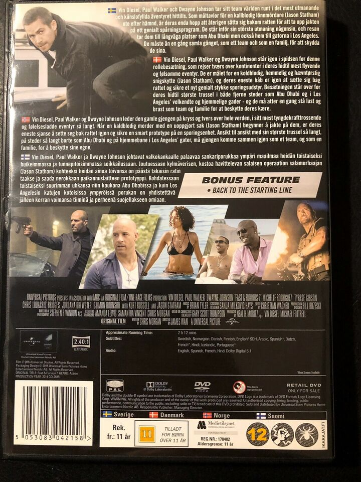 Fast & furious 7, DVD, action