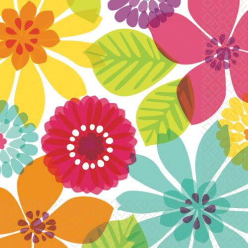 16 x serviettes Fleurs Hibiscus Hawaïen Tropical Luau Fête Serviettes FREE P/&P