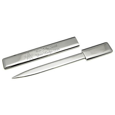 Silver Plated Letter Opener Masonic Personalised Engraving Square And Compass