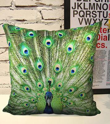 PROMOTE Velvet Peacock Pillow Cushion Cover Double Sides Artwork
