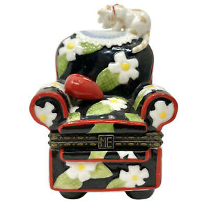 Mary-Engelbreit-Trinket-Box-Floral-Chair-w-Heart-amp-Cat-Porcelain-Hinged
