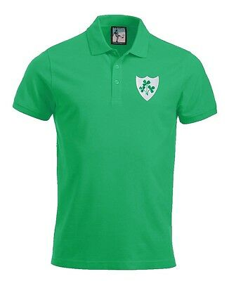 Retro Ireland National Rugby Polo Embroidered Logo Sizes S-XXL
