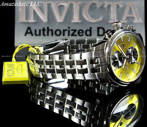 NEW-Invicta-Men-45mm-Specialty-Swiss-Movement-Yellow-Dial-Stainless-Steel-Watch