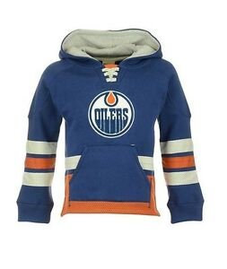 low priced f4b76 34d30 Details about Edmonton Oilers Vintage CCM Hit the Boards Pullover Retro  Skate Hoodie Jersey