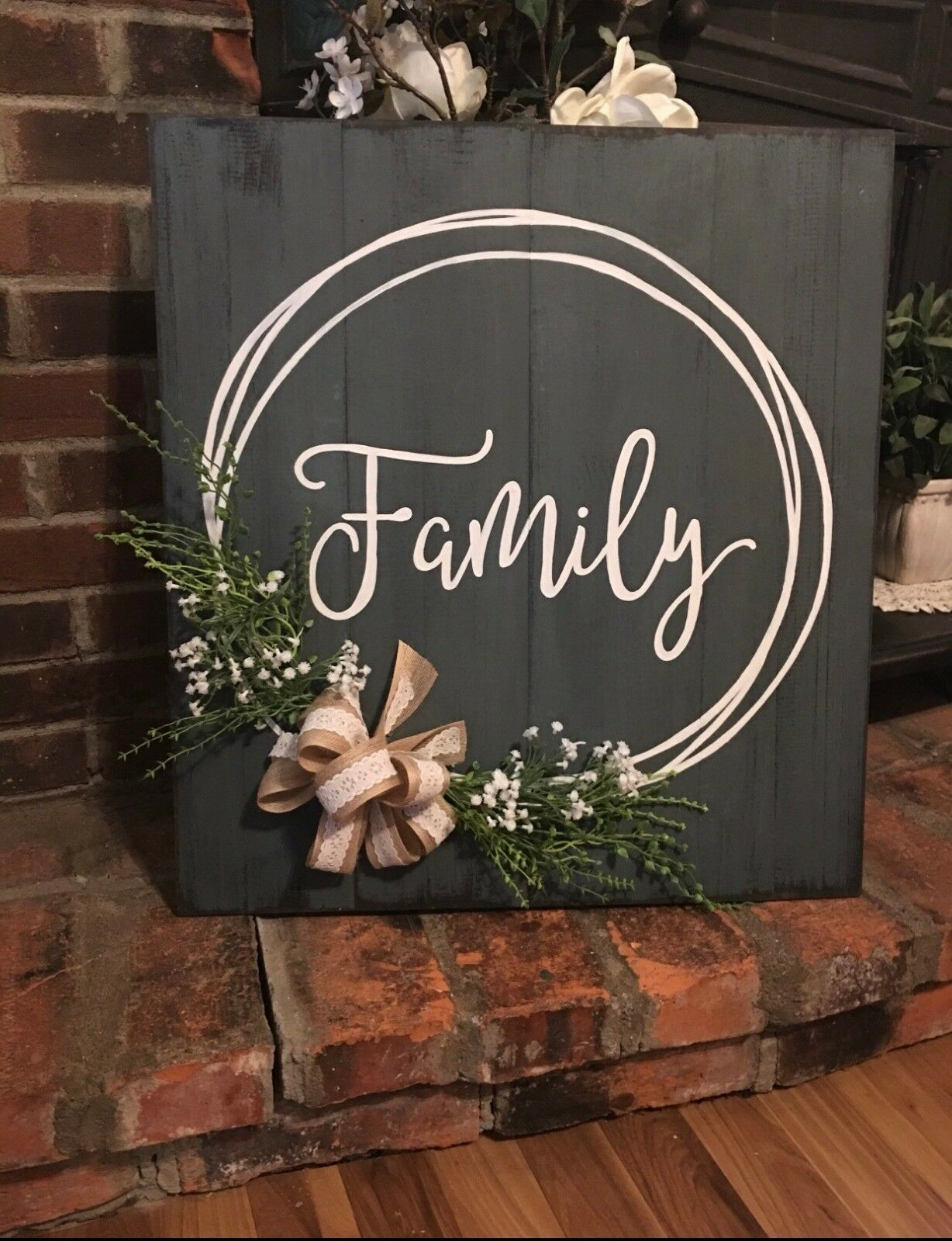 Family hand painted sign with hand drawn wreath,burlap, and lace bow