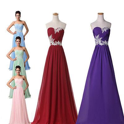 Largo Novia Vestido de noche fiesta de dama de honor vestidos 32-34-36-38-40-42+