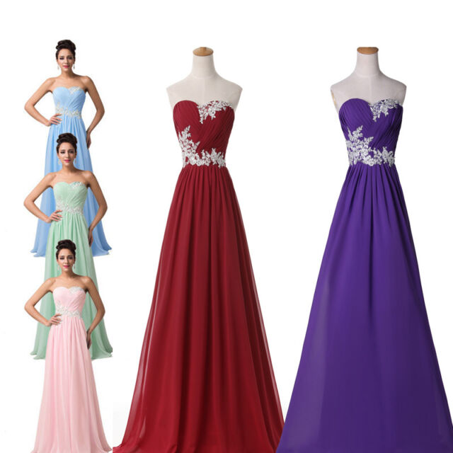 Purple Long Prom Bridesmaid Cocktail Masquerade Evening party Wedding Gown Dress