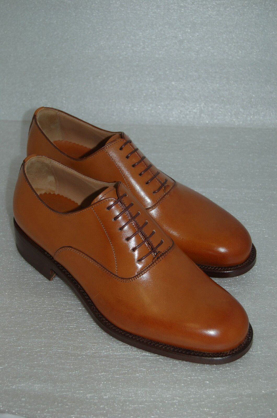 MAN - 40- 6eu- OXFORD - TAN CALF - VITELLO COL.BOMBAY-DOUBLE LTH SOLE/BLAKE CSTR