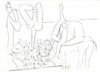 PABLO PICASSO 1960 PRINT w/COA. LINE DRAWING $ Picasso in Antibes VERY RARE ART