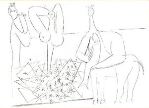 PABLO-PICASSO-1960-PRINT-w-COA-LINE-DRAWING-Picasso-in-Antibes-VERY-RARE-ART