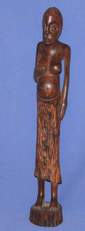 Vintage Hand Carving Wood Art African Female Statuette