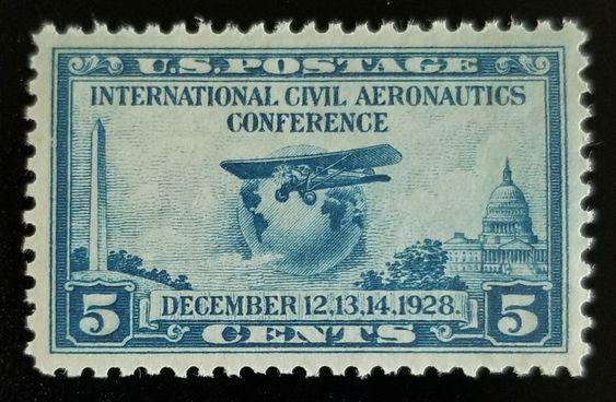 1928 5c Globe & Airplane, Aeronautics Conference, Blue