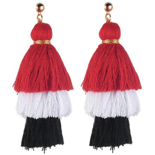 Bohemian Earrings Women Long Tassel Fringe Crystal Boho Dangle Earrings Vintage