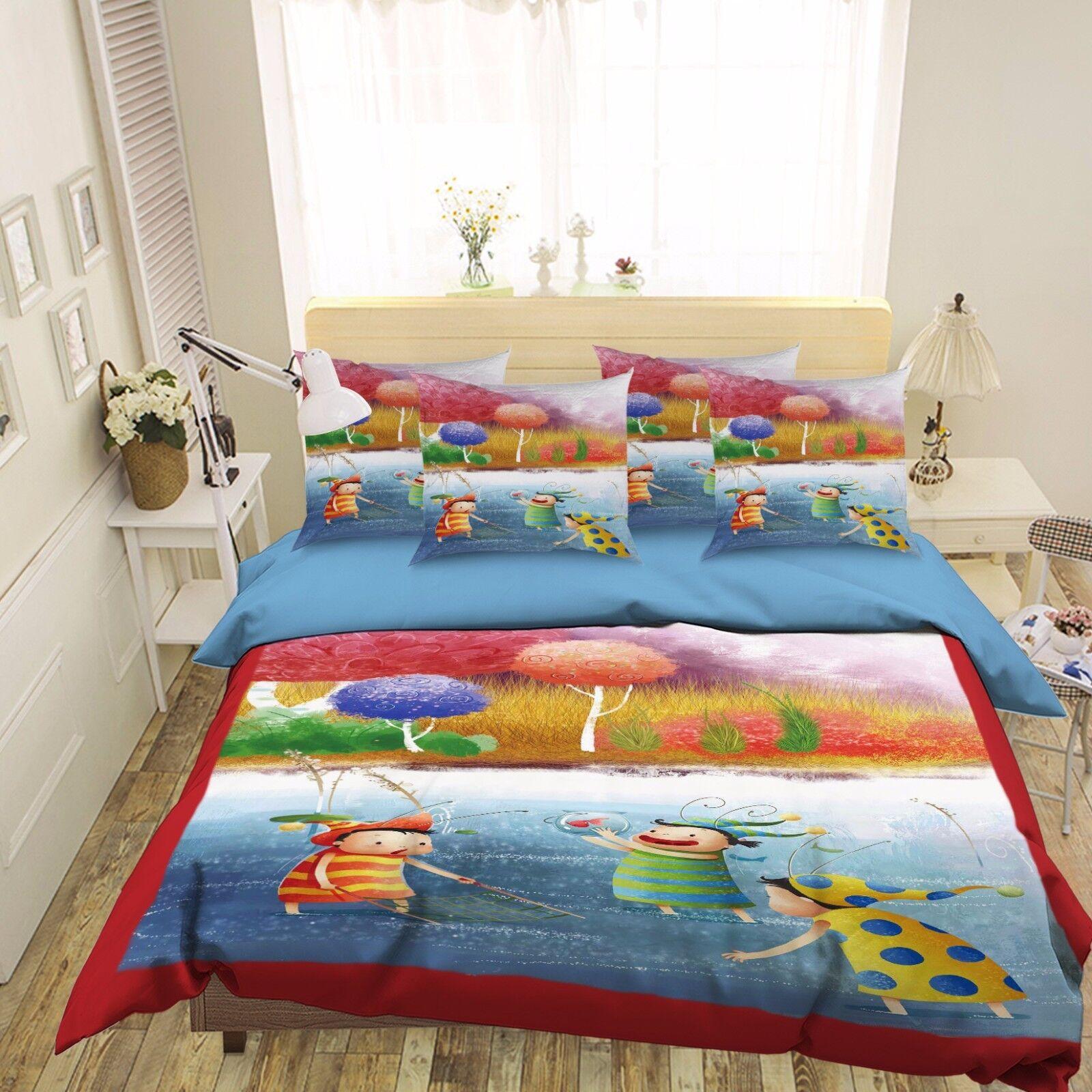 3D Gemalt Fluss 429 Bett Kissenbezüge steppen Duvet Decken Set Single DE Sunmmer