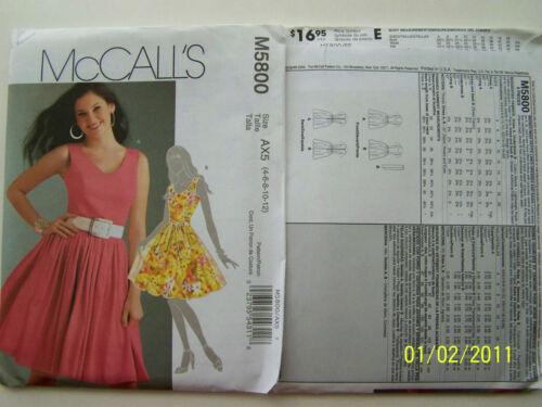 LINED DRESSES-ROUND//V-NECK SLEEVELESS GATHERED SKIRT McCalls Pattern 5800 uncut