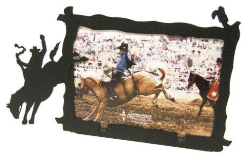 Saddle bronc 3x5H black metal picture frame