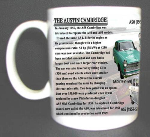AUSTIN CAMBRIDGE RANGE CLASSIC CAR MUG LIMITED EDITION MODELS A40 A50 A55 A60