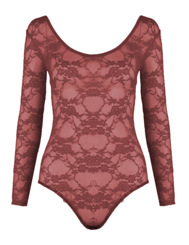 New Womens Lace Floral Long Sleeve Bodysuit Ladies Leotard Body Top Size 8-22