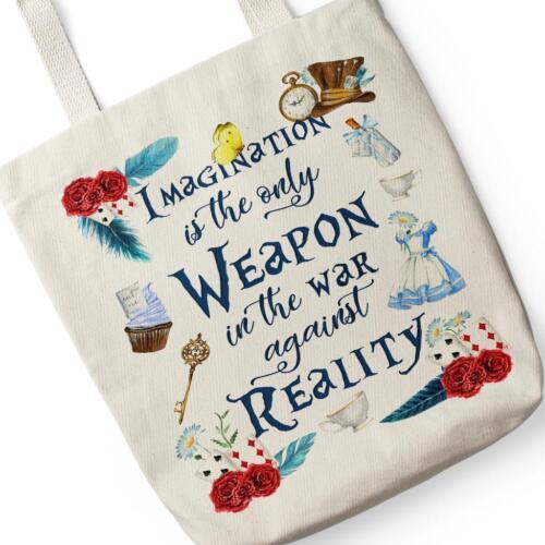 Alice Wonderland Canvas Tote Bag Reusable Shopping Vintage Retro Gift KT04