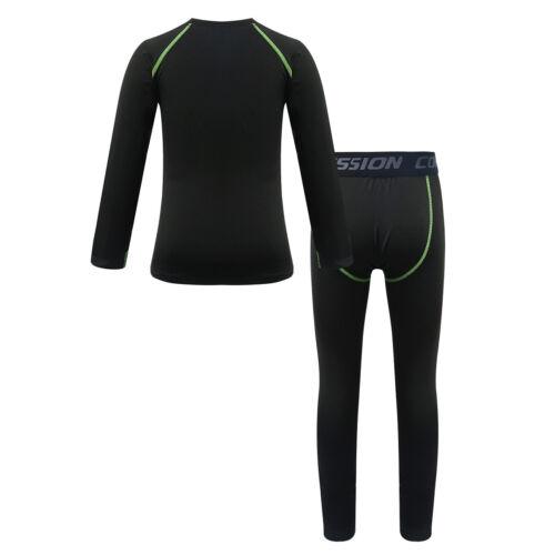 Kid Girls Boys Long Sleeve Shirt Top Leggings Set Sports Training Underwear Suit