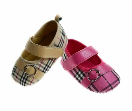 Infants Baby Shoes Girls Tartan Pram Shoe 0-12 Months