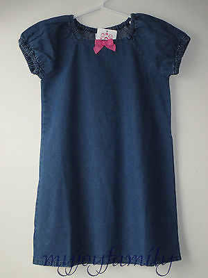 HANNA ANDERSSON Simple Retro Peasant Tunic Dress Washed Chambray 130 8 NWT