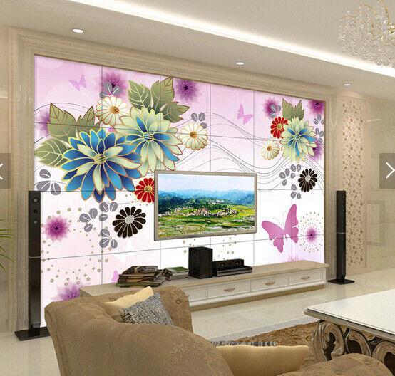 3D Blumen Schmetterling7 Tapete Tapeten Mauer Foto Familie Tapete Wandgemälde DE