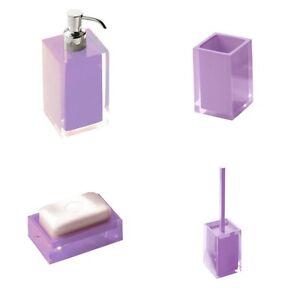 Set accessori da appoggio in resina lilla rainbow gedy arredo bagno moderno ebay - Set accessori bagno da appoggio ...