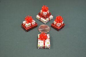 Christmas trees a triple 2 doubles and a single Miniature Christmas Presents
