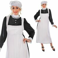 ladies victorian maid fancy dress costume period drama mob cap mop 10 12 14 16
