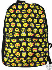 Emoji Funny Black Backpack Canvas Travel Satchel Cute Gril School Rucksack