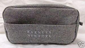 Barneys-New-York-Make-Up-Bag-Cosmetic-Toiletries-Case-Gray-Felt-Ltd-Edition