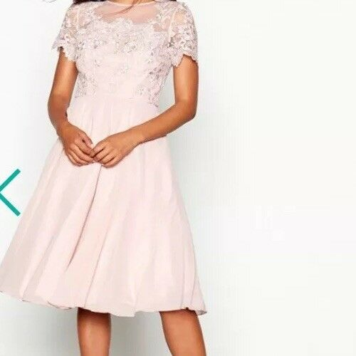 Chi Chi London Lace Embroiderot Chiffon Knee Langth Dress Größe 14  E114