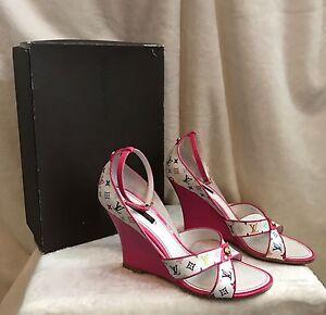 3a1016551b34c Details about Louis Vuitton White Multicolor LV Monogram Pink Sandals  Wedges Shoes 39.5