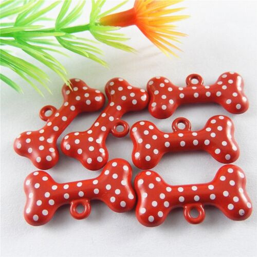 16x Red/&White Alloy Enamel Spot Dog Bone Pendants Accessories Findings Crafts
