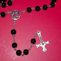 Satanic Rosary Black - Pentagram & Inverted Cross - Deathrock Goth Black Metal