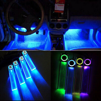 4 In 1 12V Sleek Blue Car Atmosphere Lamp Charge LED Interior Floor Decor Light