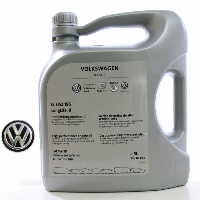 Original VW Skoda Motoröl 5W30 50400 50700 LongLife III 1L/7€ G052195M4 5 Liter