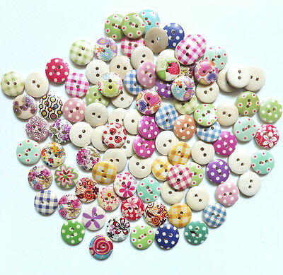 100pcs 15mm Mixed Round Pattern 2 Holes Wood Buttons Sewing Scrapbooking New