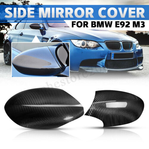 Pair Real Carbon Fiber Add-on Side Merror Cover Caps For BMW E92 E93 M3 COUPE !
