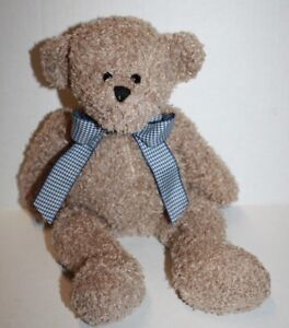 Animal-Adventure-2008-TEDDY-BEAR-14-034-Blue-Houndstooth-Bow-Soft-Curly-Plush-Toy