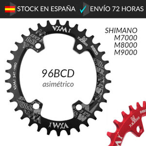Plato-BCD-96-Shimano-M7000-M8000-M9000-Ovalado-32-34-36-38-Dientes-Asimetrico