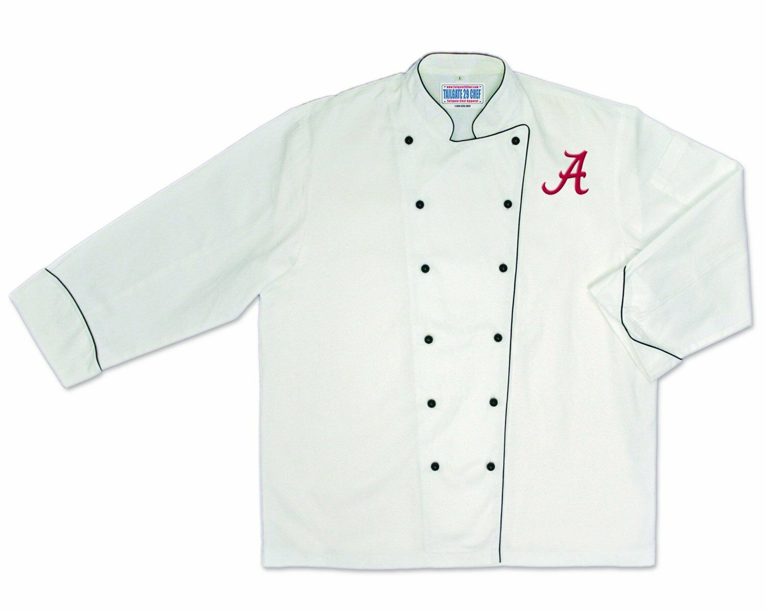 Alabama Crimson Tide Chef Coat Embroidered for Barbecue, Tailgate Party, Size M