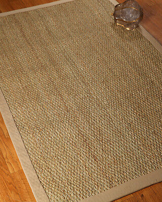 Maritime 100% Natural Fiber  Seagrass Rug Hand Crafted 3'x5' Sage Khaki Border