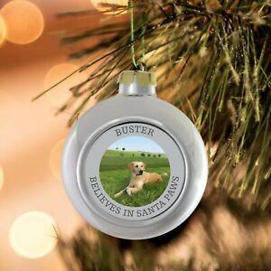 Personalised Dog Cat Pet Christmas Photo Bauble Tree Decoration fun santa paws