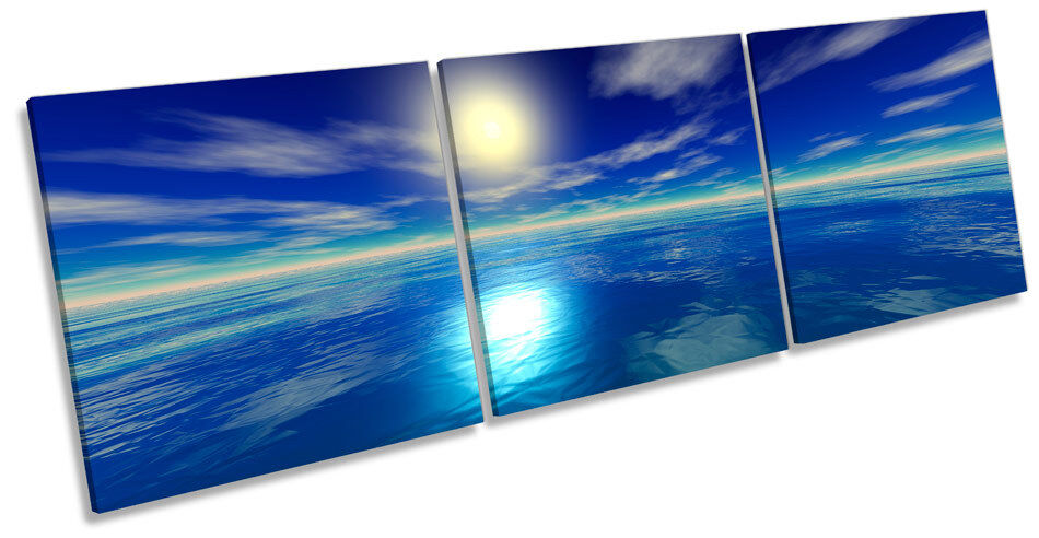 Blau Digital Sunset Seascape Picture CANVAS WALL ART Triple Print