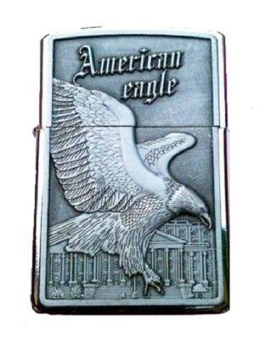 BRIQUET TEMPETE AMERICAN EAGLE TRISTAR US DESIGN METAL GRAVE D/'UN AIGLE DEVANT L