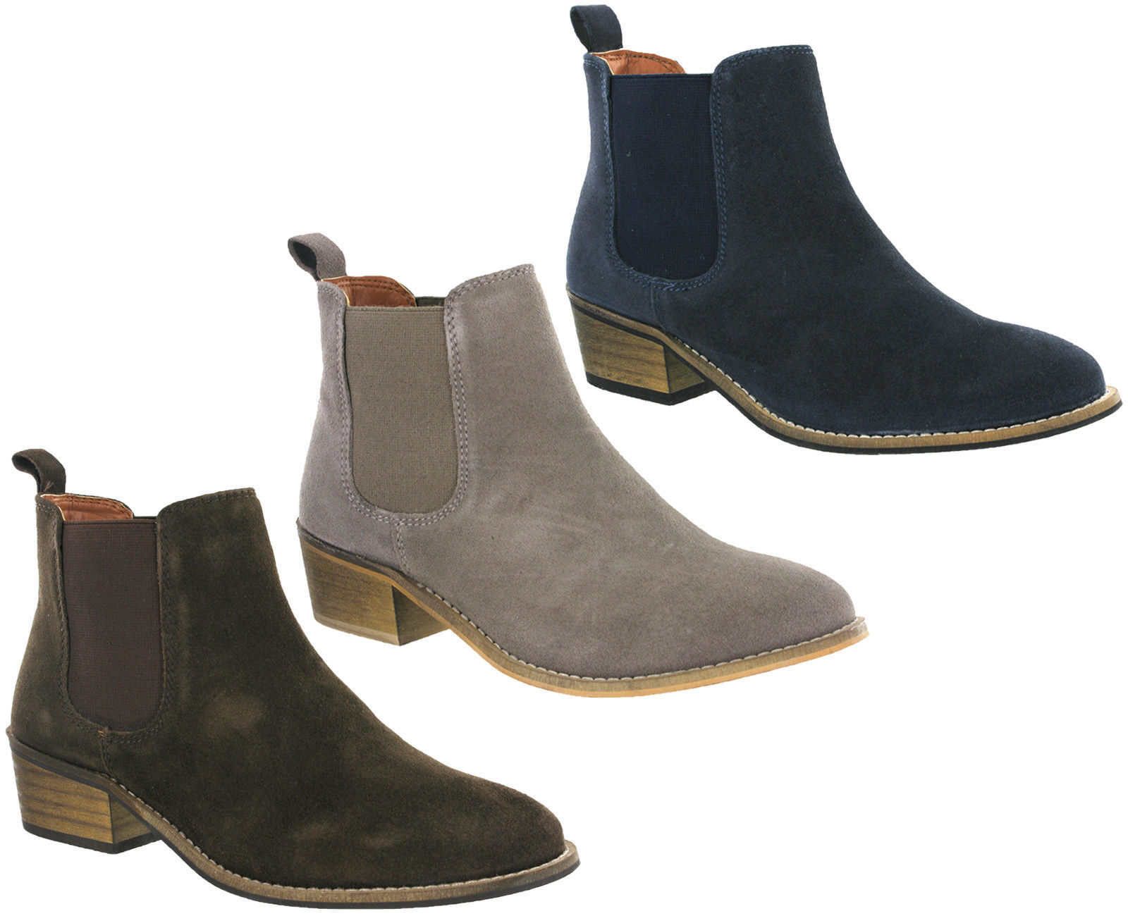 Cipriata Twin Gusset Ankle Italian Suede boots inside slip on