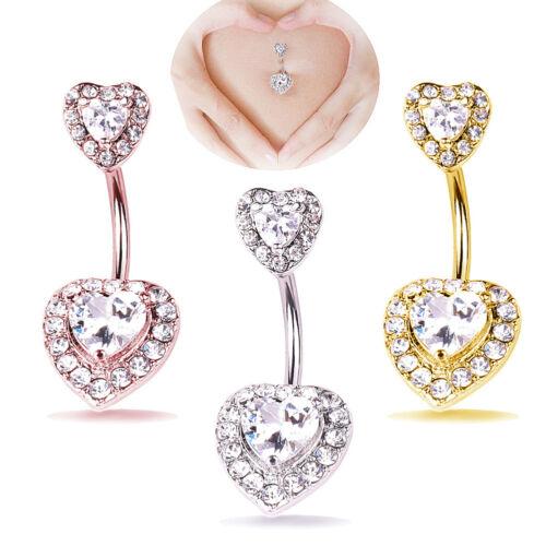 EG/_ HOT Heart Shape Women Navel Bar Barbell Belly Button Ring Piercing Jewelry L