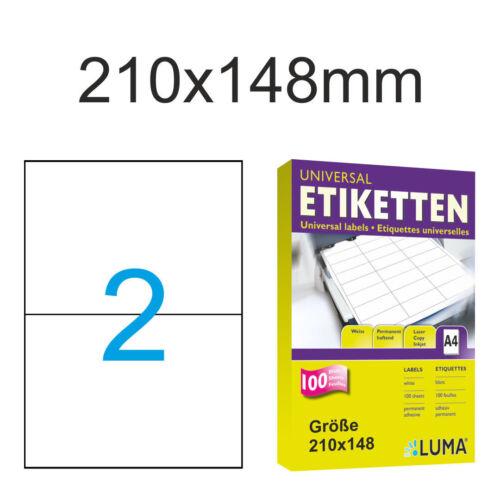 400 DIN A5 Papier Etiketten 200 Blatt A4 210x148mm 210 x 148 selbstklebend Luma